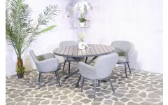 Table round Jersey anthracite Ø140 cm + 4 Chair Selena allweather